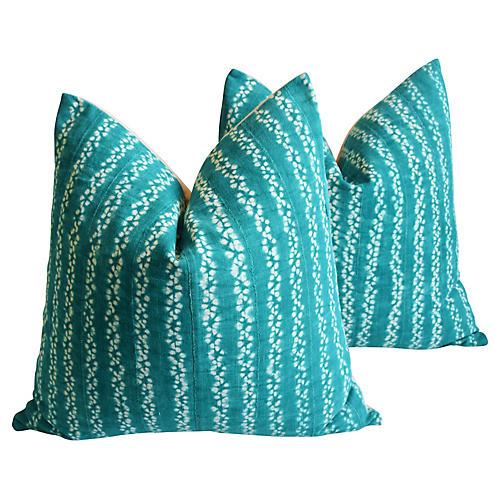 Malian Green & White Pillows, Pair