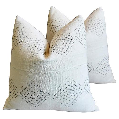 Malian Gray & White Pillows, Pair