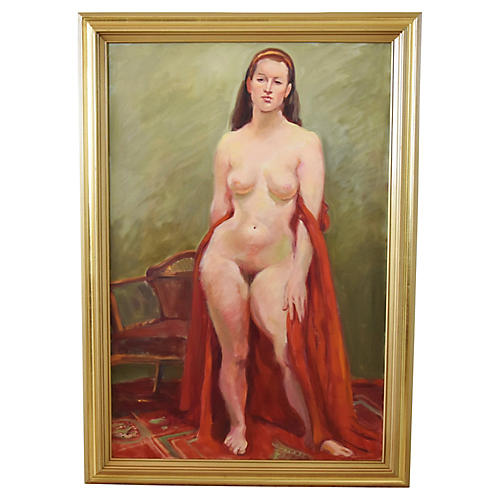 Midcentury Female Nude Draped in Red