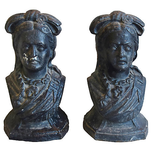 Antique French Iron Busts, Pair