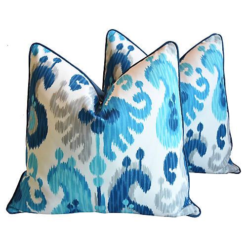 Blue Ikat Pillows, Pair