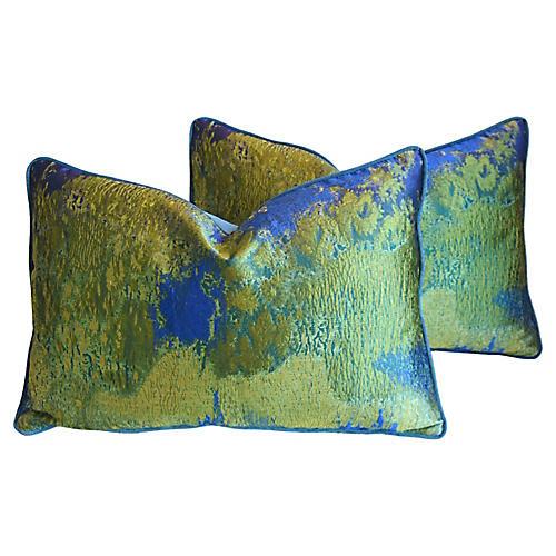 Italian Green & Blue Silk Pillows, Pair