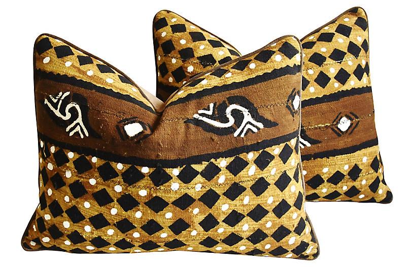 Malian Mud-Cloth Lumbar Pillows, Pair