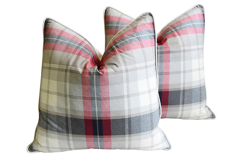 English Linen & Velvet Plaid Pillows, Pr