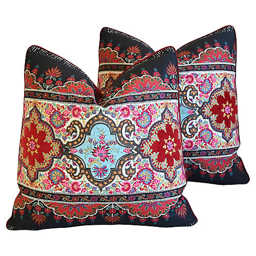 Pierre Frey Embroidered Pillows, Pair