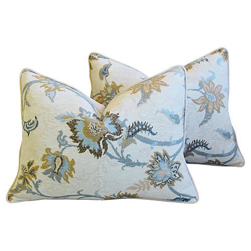Italian Floral Linen Velvet Pillows, Pr