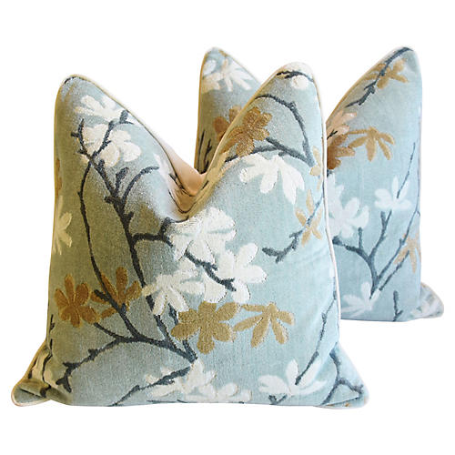 Spring Blossom Velvet Pillows, Pair