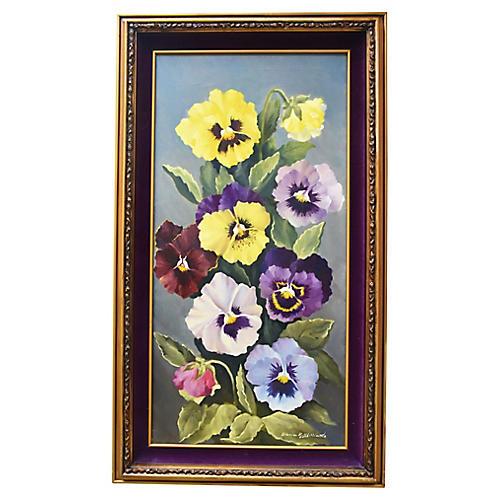 Midcentury Pansies Floral Painting