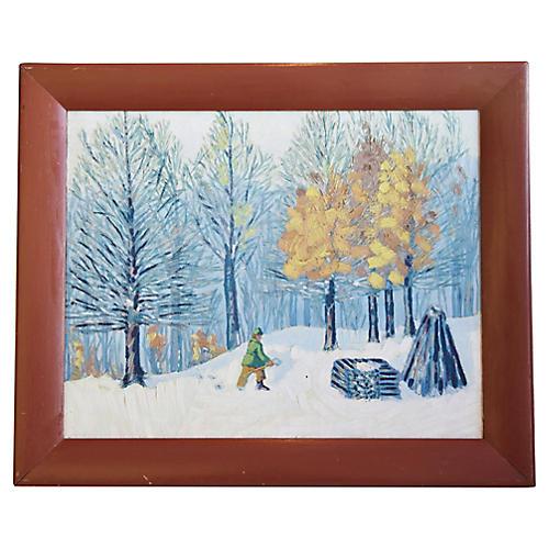 1930s Winter Landscape, by J.S. Riegel