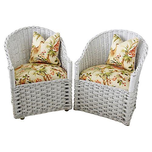 Wicker Chairs w/ Chinoiserie Fabric, Pr