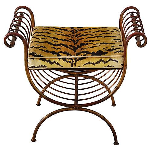 Italian & Scalamandre Tiger Vanity Bench