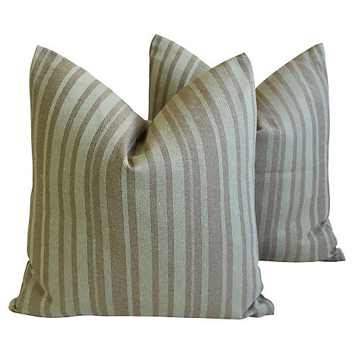 French Green Striped Pillows, Pair