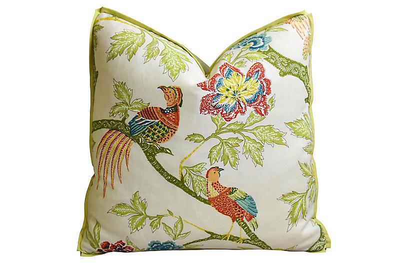 Schumacher Chinoiserie Linen Bird Pillow