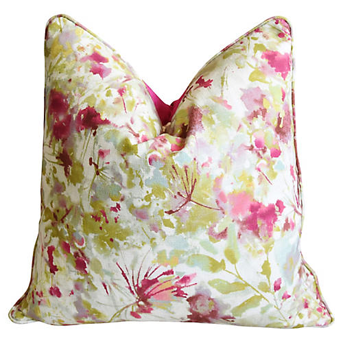 Pink & Green Floral & Silk Velvet Pillow