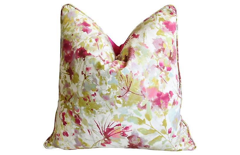 Pink & Green Floral & Silk Velvet Pillow