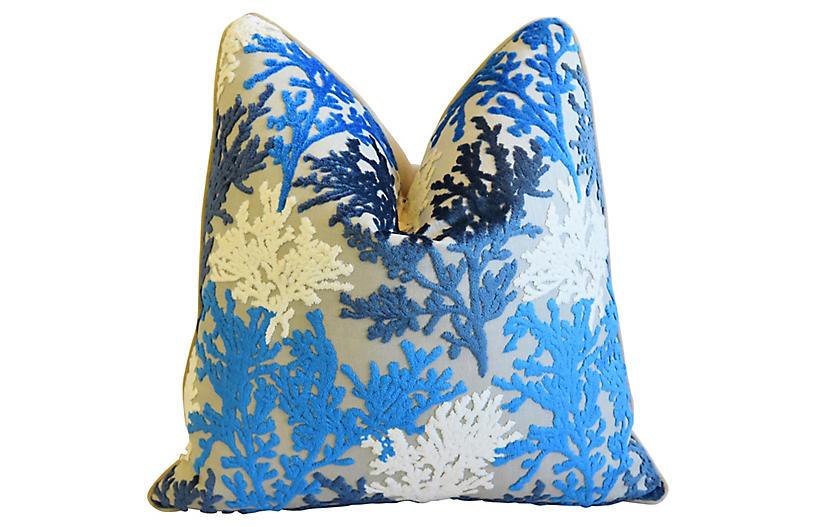 Blue & White Coral Cut-Velvet Pillow