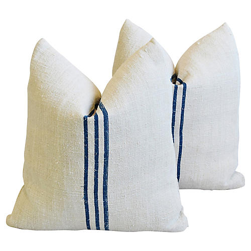 French Grain-Sack Pillows, Pair