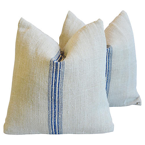 French Farmhouse Grain-Sack Pillows, S/2
