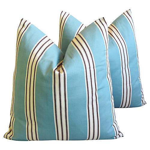 French Aqua Striped Pillows, Pair