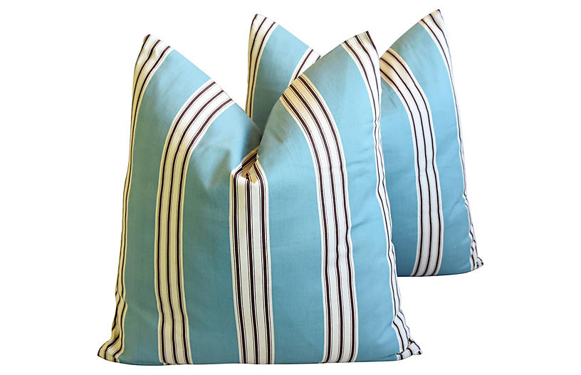 French Aqua Striped Pillows, Pair