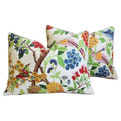 Chinoiserie Bird & Floral Pillows, Pair