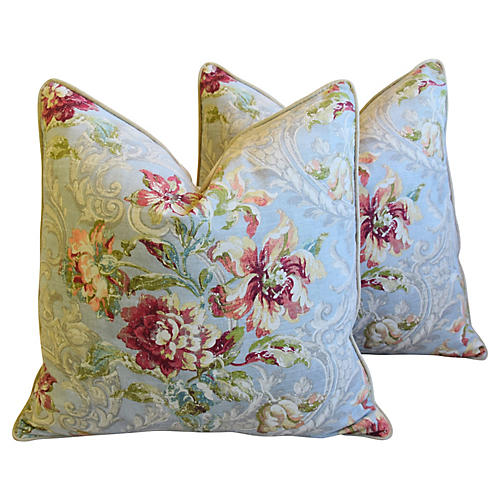 French Floral Linen & Velvet Pillows, Pr