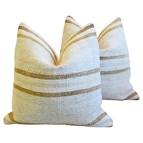 Organic Hemp & Cotton Kilim Pillows, Pr