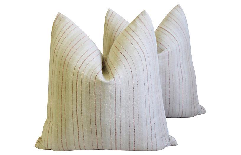 French Striped Linen Pillows, Pr
