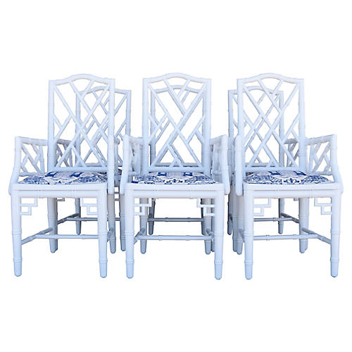 Chinoiserie Faux-Bamboo Armchairs, S/6
