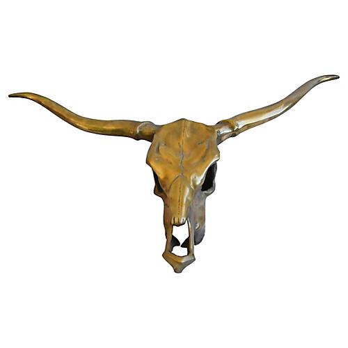 Brass Longhorn Skull Wall Sculpture