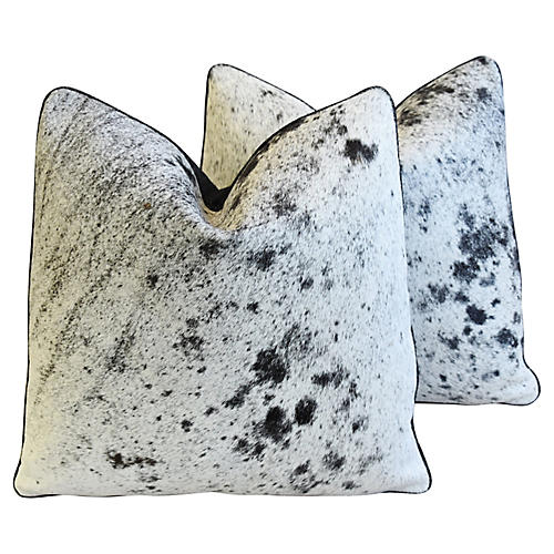 Black, White & Gray Cowhide Pillows, Pr