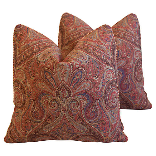English Country Paisley Pillows, Pair