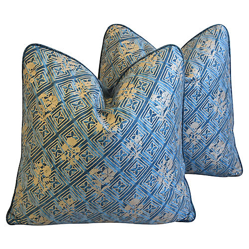Italian Mariano Fortuny Pillows, Pair