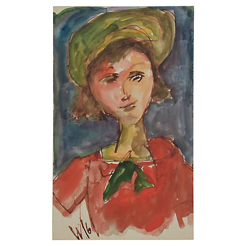 Young Lady in Red by Willard Wiener