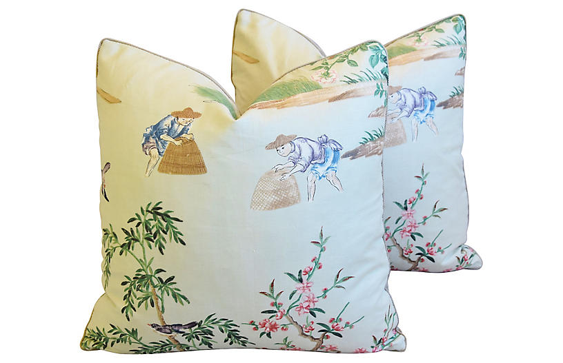 GP & J Baker Chinoiserie Pillows, Pair