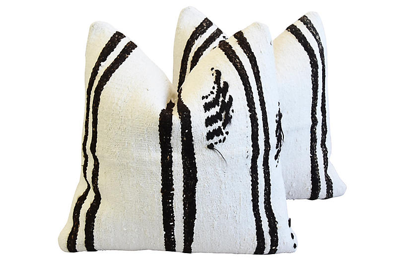Organic Hemp & Cotton Kilim Pillows, Pr