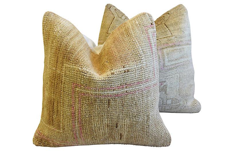 Earth-Toned Turkish Wool Rug Pillows, Pr
