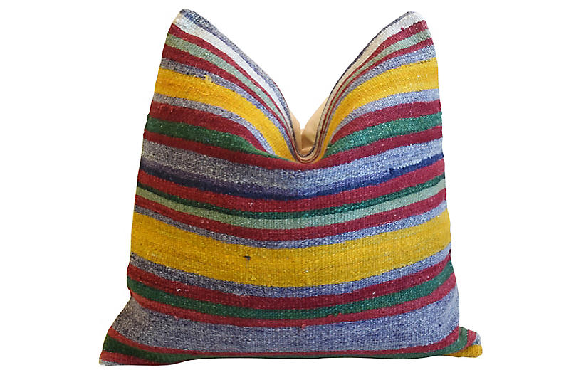 Colorful Striped Wool Rug Carpet Pillow