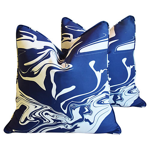 Blue & White Marbleized Pillows, Pair