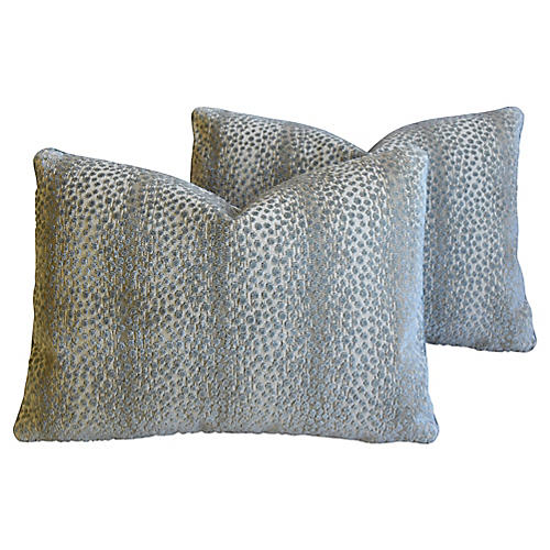 Schumacher Velvet Linen Pillows, Pair