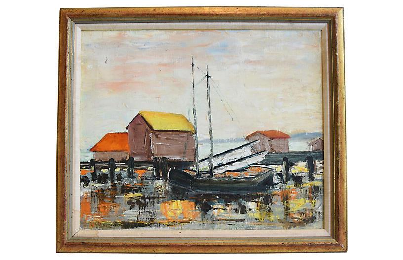 Midcentury Fishing Boats at Dock