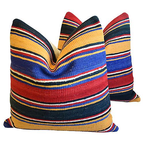 Turkish Multi-Striped Kilim Pillows, Pr