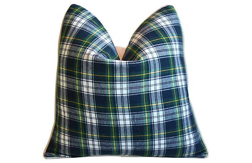 Green, Blue & White Tartan Plaid Pillow