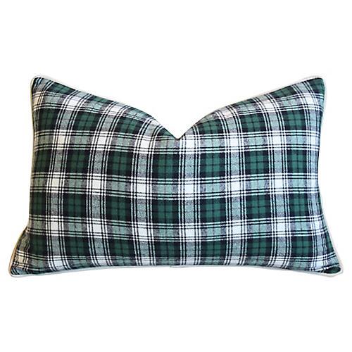 Green, Black & White Tartan Plaid Pillow
