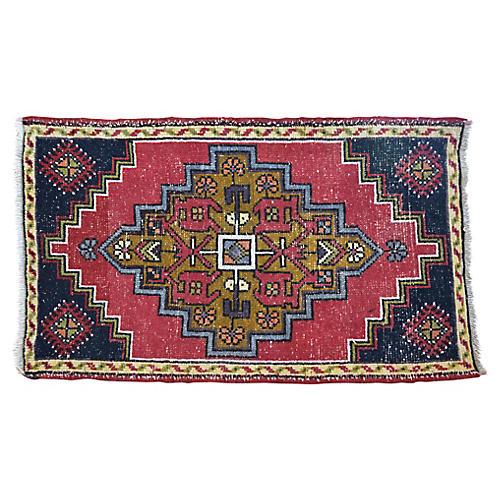 """Handmade Turkish Rug, 1'10"""" x 3'2"""""""