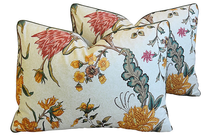 Schumacher Arbre Fleuri Pillows, Pair
