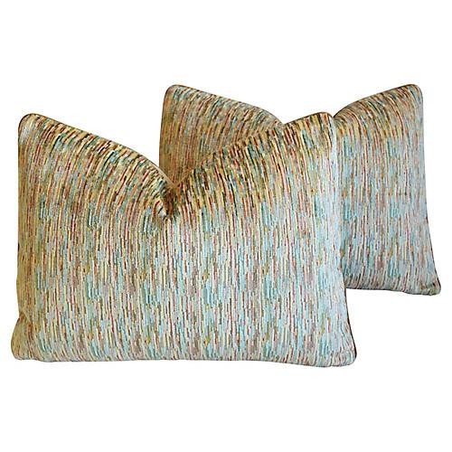 Clarence House Velvet Fabric Pillows, Pr