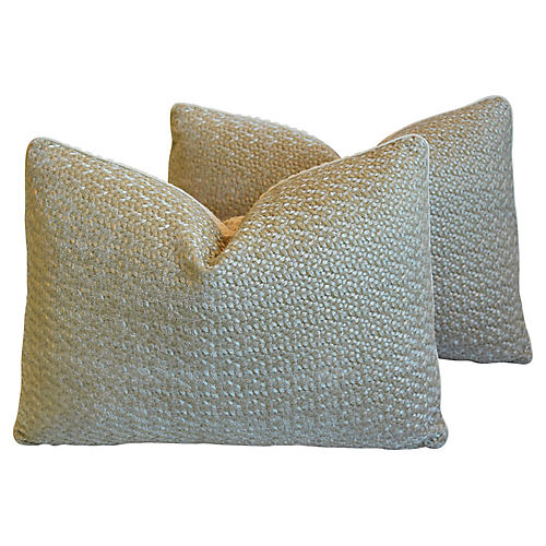 Pollack Gold Embroidered Pillows, Pr