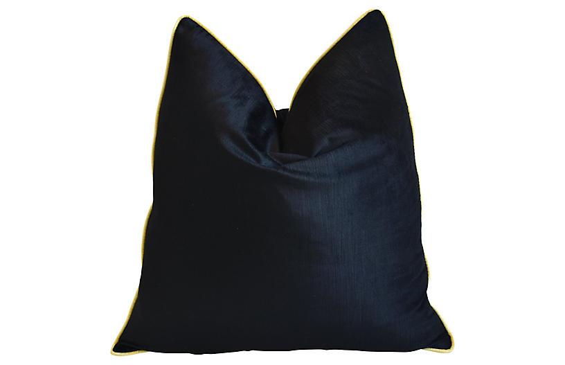 Jet Black & Yellow Velvet Pillow