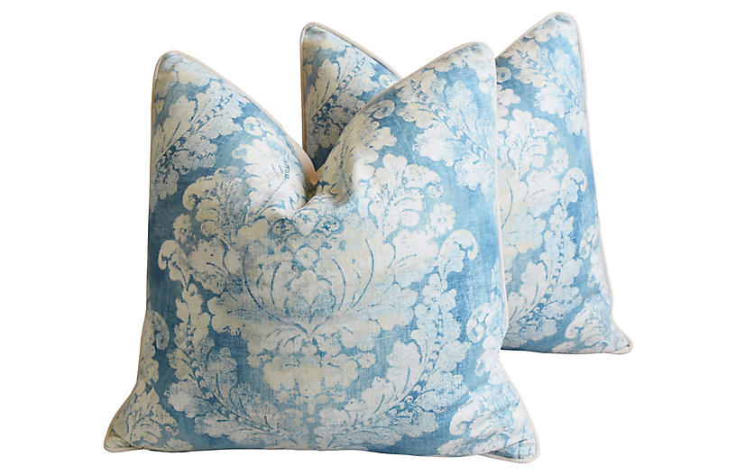 Blue & White French Linen Pillows, Pair